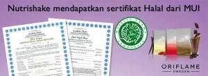 Sertifikat halal dari MUI untuk Produk Oriflame Nutrishake